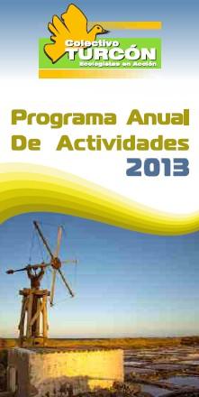 Portada del programa de actividades para el 2013