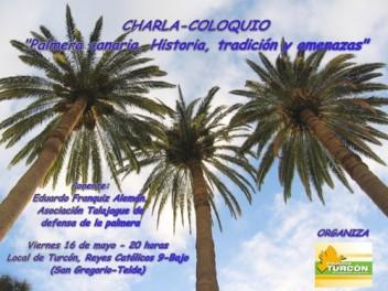 Cartel anunciador de la charla sobre la palmera canaria