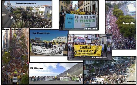 Composición con las diversas manifestaciones celebradas en todas las islas