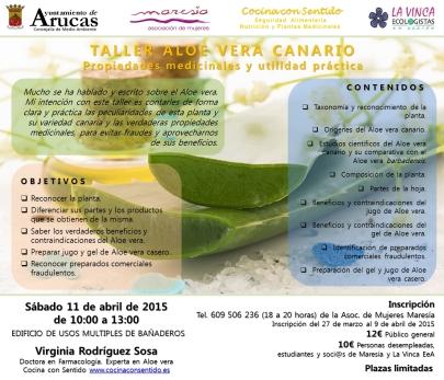 Folleto de Taller de Aloe Vera a celebar en Bañaderos