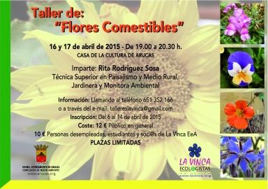Cartel informativo del Taller de Flores Comestibles