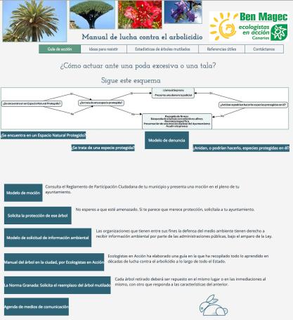 Vista del espacio web contra los arboricidios